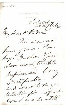 Sir James Alderson - physician to Queen Victoria - President RCP - 1868 letter