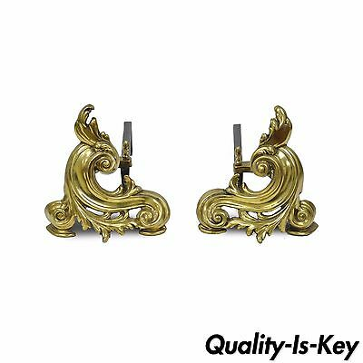 "10"" Antique Pair of Brass Cast Iron Small French Nouveau Rococo Chenets Andirons"