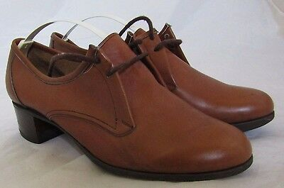 Barker Of Earls Barton Leather Brown Vintage Shoes Size 6 38.5 75 D Lace Up