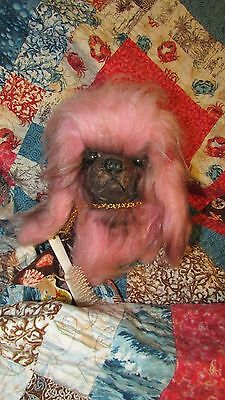 VINTAGE PINK PEKINGESE STUFFED DOG HERMAN PECKER 1950's ORIGINAL BRUSH & PAPER L