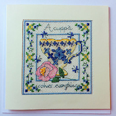 Completed Cross Stitch Card 'A Cuppa Solves Everything ' Floral Vintage Tea Cup