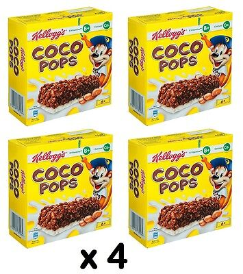 4 x Boxes Kellogg's Coco Pops Cereal Breakfast Snack Bars (24 Bars)