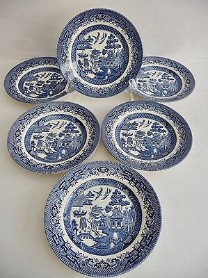 Set Of 6 Churchill Blue And White Willow Pattern Tea Plates - Fab Condition
