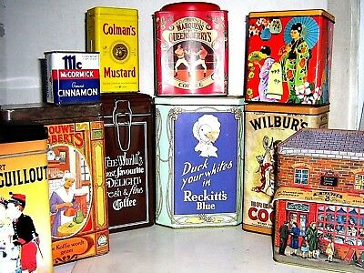 EARLY COFFEE & HOUSEHOLD COMMODITY TINS 1960/2000 ~ click HERE to browse / order