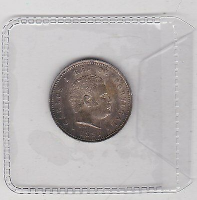 1891 Portugal Silver 200 Reis In Good Very Fine Or Better Condition
