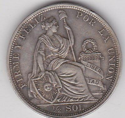1915 Peru Silver Half Sol In Good Very Fine To Extremely Fine Condition