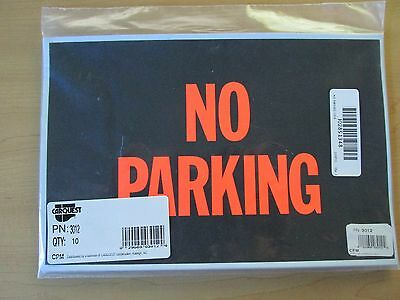 Lot Of 10 - Hy-Ko Vinyl No Parking Signs 12X8 With Orange Lettering **new**