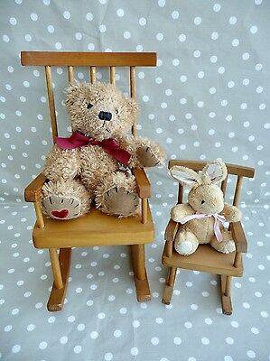 Pair Of Handcrafted Pine Wood Wicker Doll/teddy Display Rocking Chairs - Fab