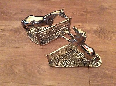 Vintage Solid Brass Horse Book Ends- Jumping The Fence