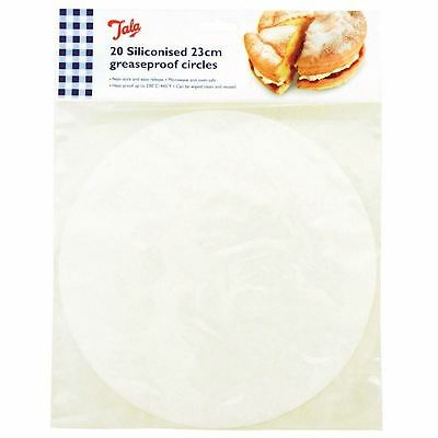 """20 x Siliconised Plastic Non Stick Cake Circles Greaseproof Liners - 23cm / 9"""""""