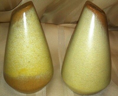 """1 Pair Vintage Frankoma 4"""" Desert Gold Salt and Pepper Shakers - Good Condition!"""