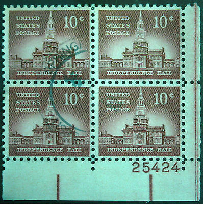 U.S.A. 1954. 10c Independence Hall. S.G.1043. Plate Block of 4. Used.