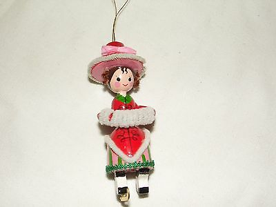 Erzgebirge Wooden Skater Girl Ornament