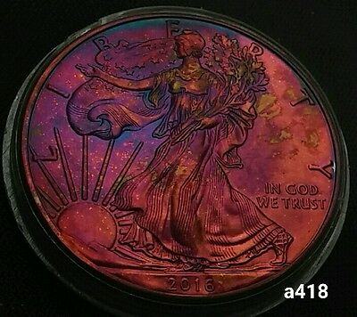 2016 Rainbow Monster Toned Silver American Eagle Coin 1oz  uncirculated #a418