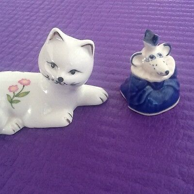 Gift idea UK Cat and mouse figurine lovely ceramic figurines UK seller