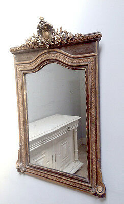 FRENCH ANTIQUE CRESTED PAINTED AND GILIDED MIRROR c1900