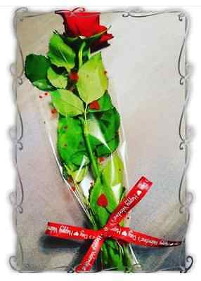 Red heart print x20 cellophane Rose flower bouquet bags sleeves Valentines day