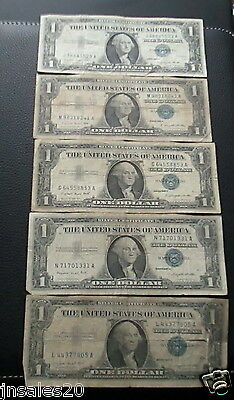 Lot Of 5 1957A  $1 Circulated Blue Seal Silver Certificates