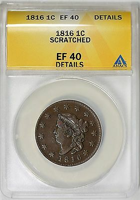 1816 Coronet Head Large Cent ANACS XF-40 Details N-6 R-2