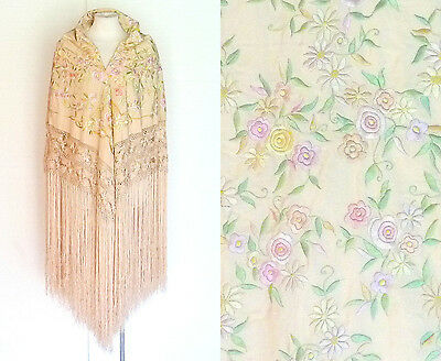 Early 1900s 1900s Silk Shawl Vtg Floral Embroidery Long Fringe Piano