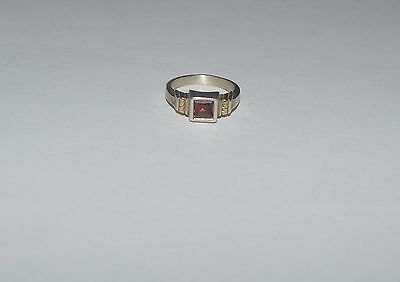 Vintage Hand Crafted Sterling Silver 14 K Gold And Garnet Ring Size 7.75
