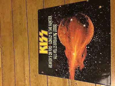 "KISS 12"" single Heavens on Fire with free poster still inside"