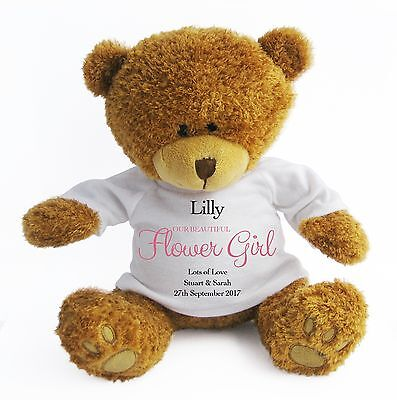 Personalised (Large) Flower Girl Teddy Bear - Wedding Favour / Thank You - Pink