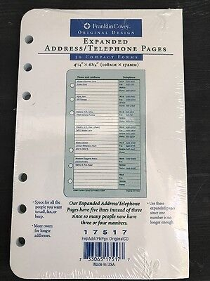 Franklin Covey Expanded Address/Telephone Pages-50 Forms-17518-NIP