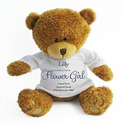 Personalised (Large) Flower Girl Teddy Bear - Wedding Favour / Thank You - Blue