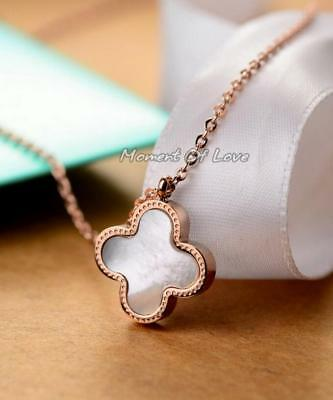 2332a2fe76aa5 DOUBLE -SIDED FLOWER Four-leaf Lucky Clover White Pearl/Black ...