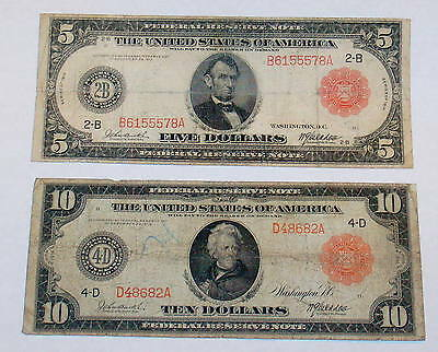 Two 1914 RED SEAL $5 Lincoln & $10 Ten Dollar Jackson Large Size Currency Note