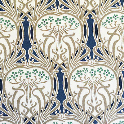 Art Nouveau fabric, cotton lawn, blue green floral, Arts & Crafts, vintage style