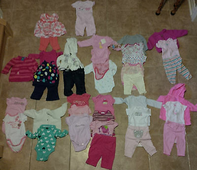 HUGE LOT of 38 Pieces Girls Size 0-3 Months Clothing Clothes