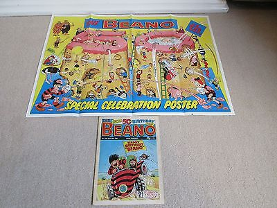 THE BEANO COMIC SPECIAL 50TH BIRTHDAY ISSUE-No 2402+FREE GIFT POSTER-30/07/1988