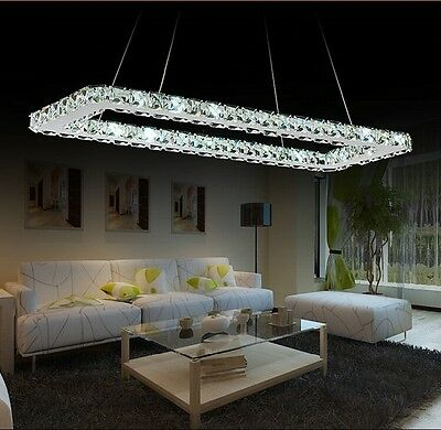Modern Luxurious LED Crystal 80cm Rectangle Dining Pendant Chandelier Lighting