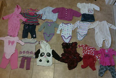 HUGE LOT of 49 Pieces Girls Size 3-6 Months Clothing Clothes
