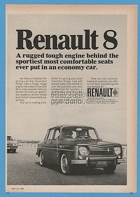 1966 Renault 8 Sedan Economy Car Rugged Engine Sporty Great Driving Photo Ad