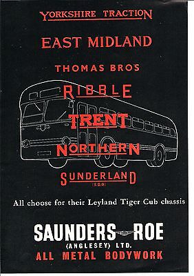 Saunders Roe Anglesey Leyland Tiger Cub Chassis Bus Body 1953 Vintage Advert