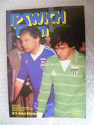 1981 IPSWICH TOWN v AS SAINT ETIENNE, 18th March(UEFA Cup Quarter Final 2nd Leg)