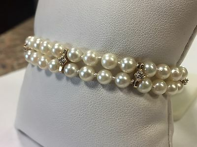 Vintage 14k Yellow Gold Double Row Pearl Bracelet with Diamond Accents