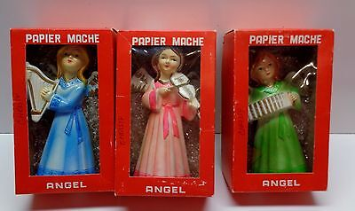 3 Vintage JAPAN Made CHRISTMAS ANGELS PAPER MACHE DECORATIONS IN BOXES