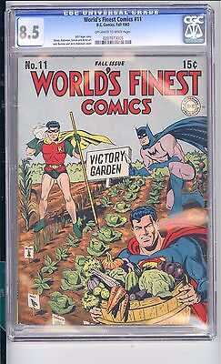 Worlds Finest #11   Cgc 8.5 Vf+  Ow/white Pages!    Victory Garden Cover!