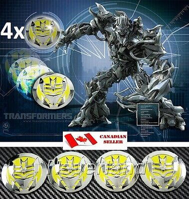 4x Wheel Center Cap Emblem Badge Decal Sticker for Transformer Decepticon Yellow