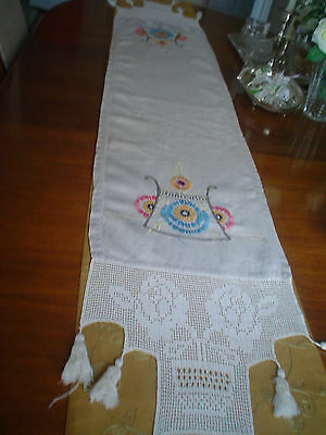 Oat Vintage Linen Hand Made and Hand Crochet embroidered table runner tassle