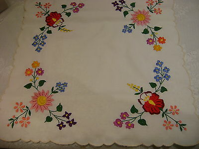 White Hand embroidered colorful flowers scalopped edge table topper doilie