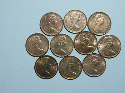 1973-1982 GB Decimal 1/2P HALF PENNY PENCE COIN SET (10 Coins) UNCLEANED