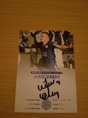Hand Signed Jamie Vardy Leicester City Official Club Card