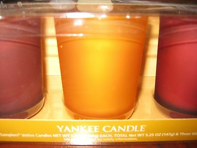 Yankee Candle GIFT SET of 3 Votive Candles in Holders ~NEW~