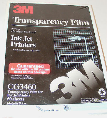 3M Transparency Film HP Color Ink Jet Printers CG3460 50 Sheets 8.5 x 11 New