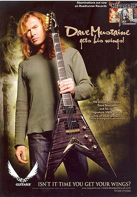 MAGAZINE AD. FOR DEAN GUITARS.  Dave Mustaine. Megadeath. Excellent condition.